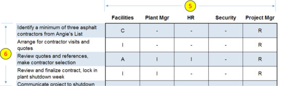 RACI chart details section in template - insert rows and columns as needed